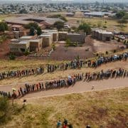 Lines of South Africans waiting to vote