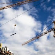 building site with industrial cranes