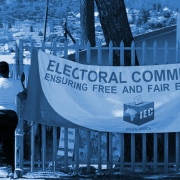 IEC banner outside voting station