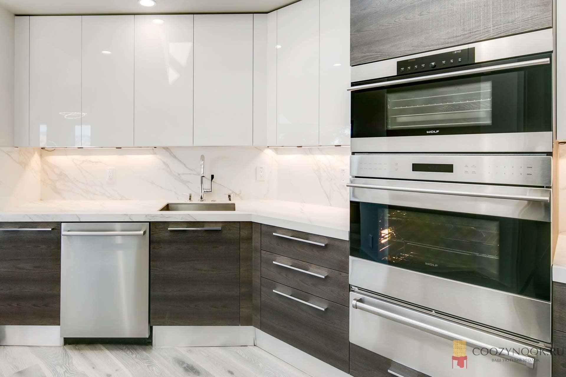 встроенный верх, без верхних шкафов, навесных, кухня, фото, пример