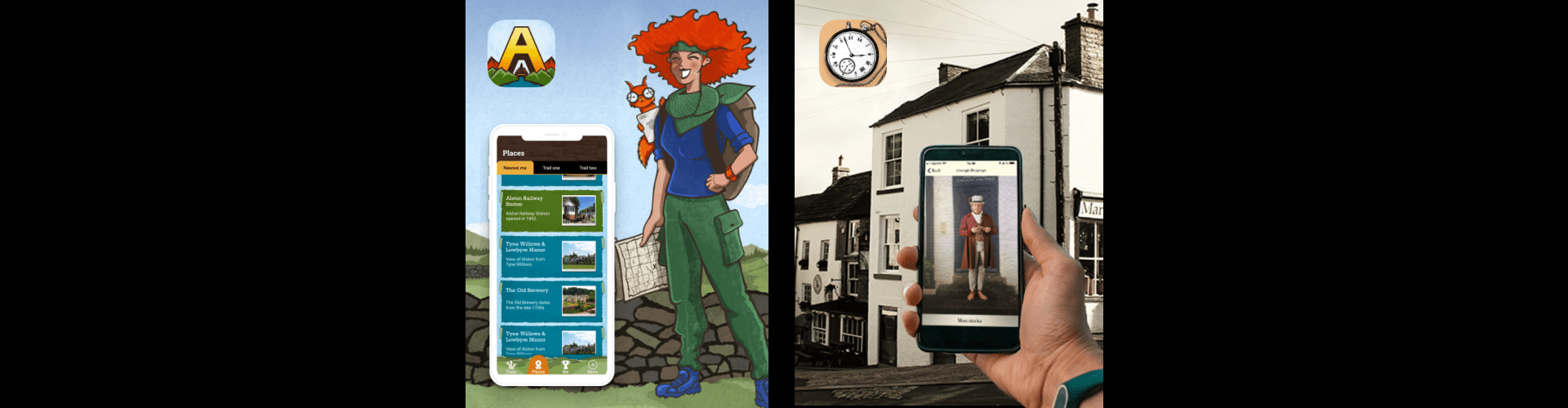 Images showing Alston Explorer and Alston Time Traveller apps commissioned by North Pennines AONB.