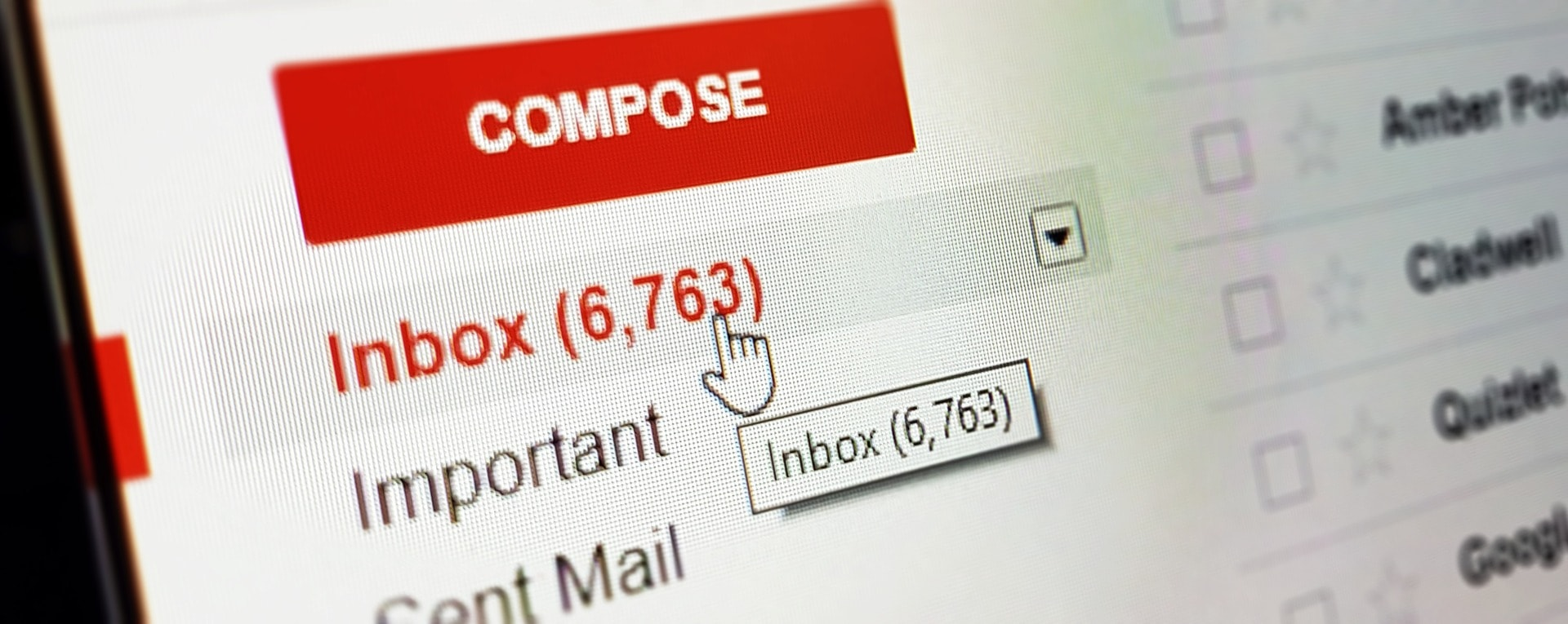 The Gmail interface with 6,000+ emails in the inbox