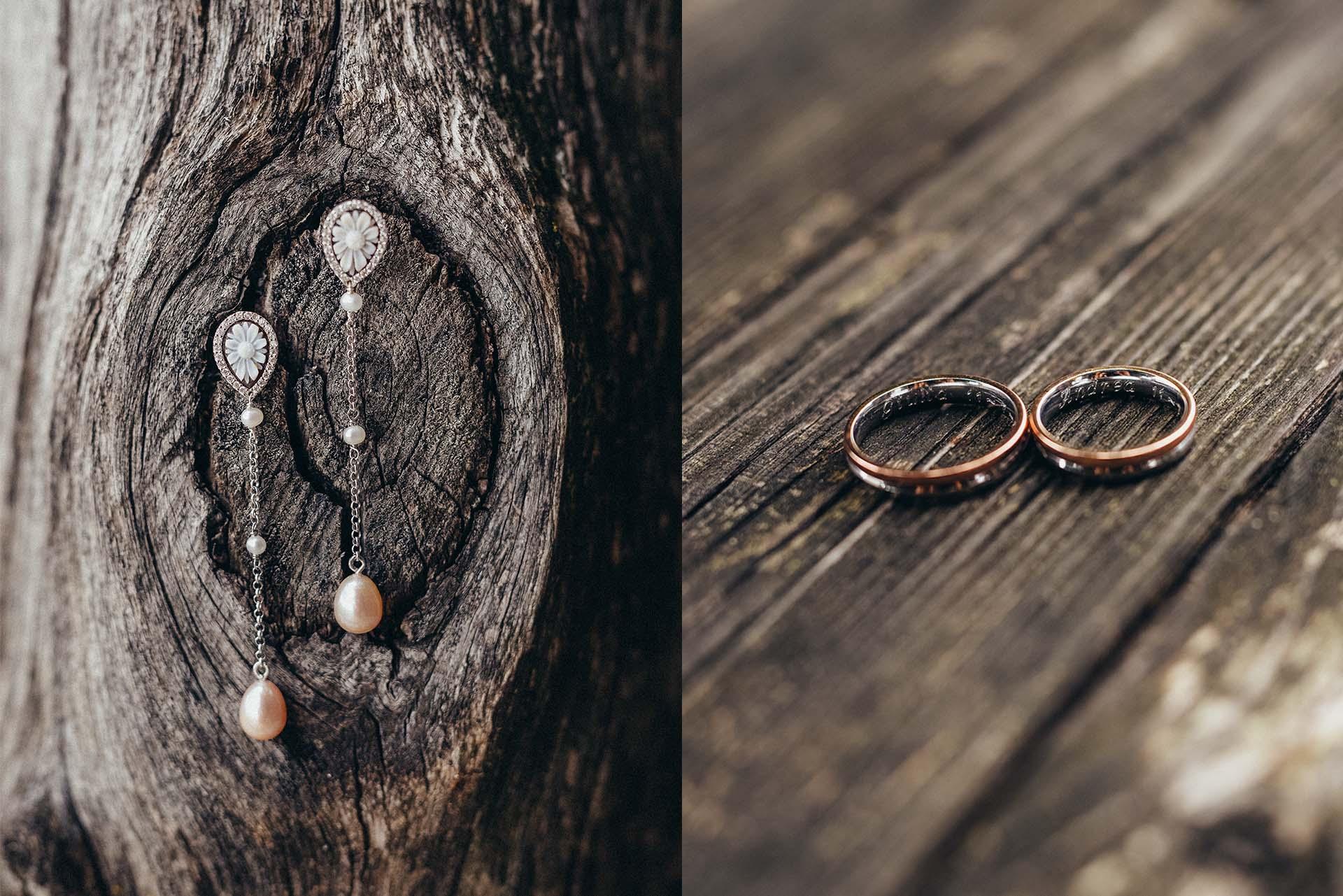 orecchini e fedi sposa