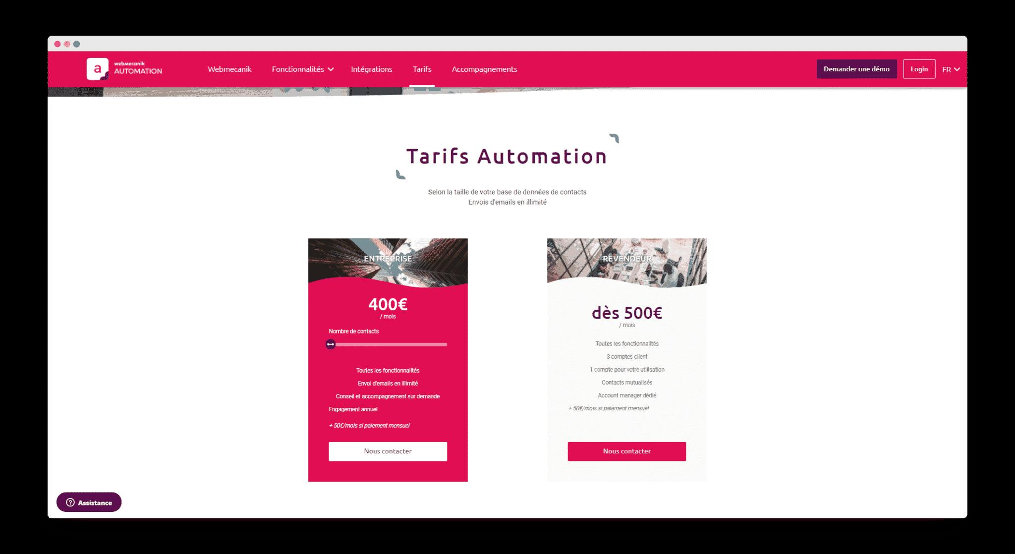 Webmecanik tarifs