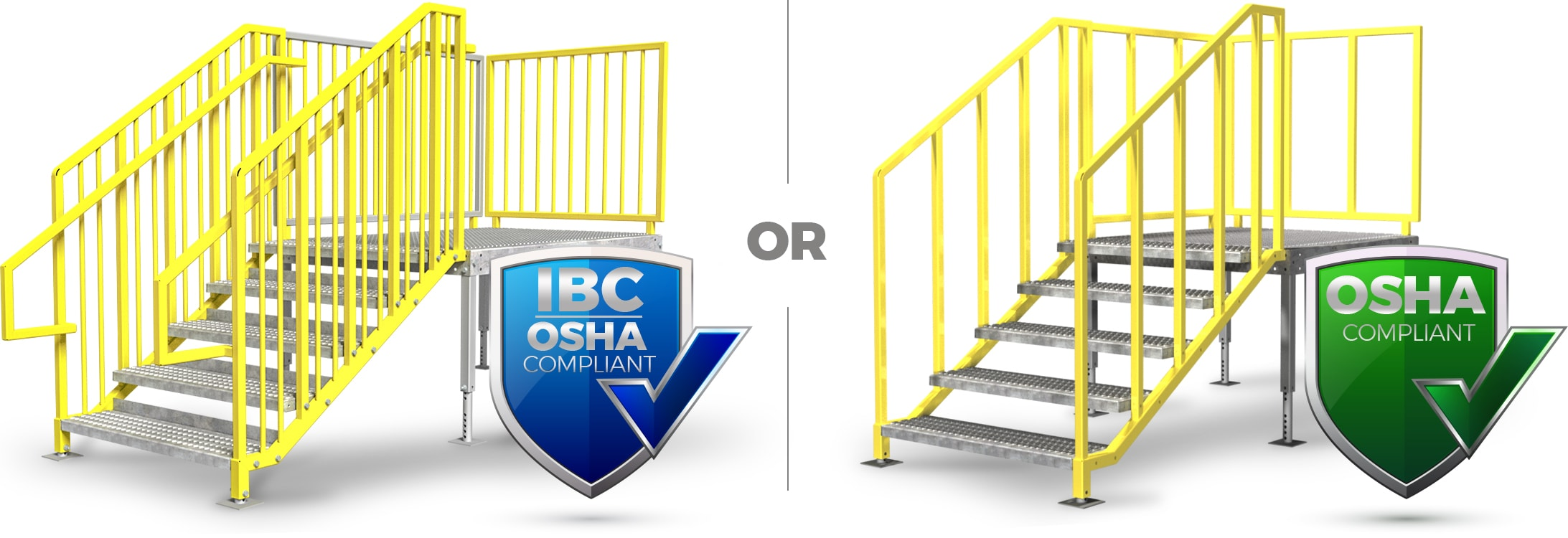 Illustration about IBC and OSHA compliant options for portable stairs
