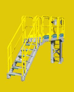 Catwalk platform with metal stairs