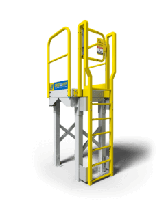 Access tower with metal ladder