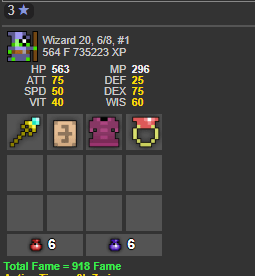 Rotmg account wizard 6/8 with 918 fame [Budget]