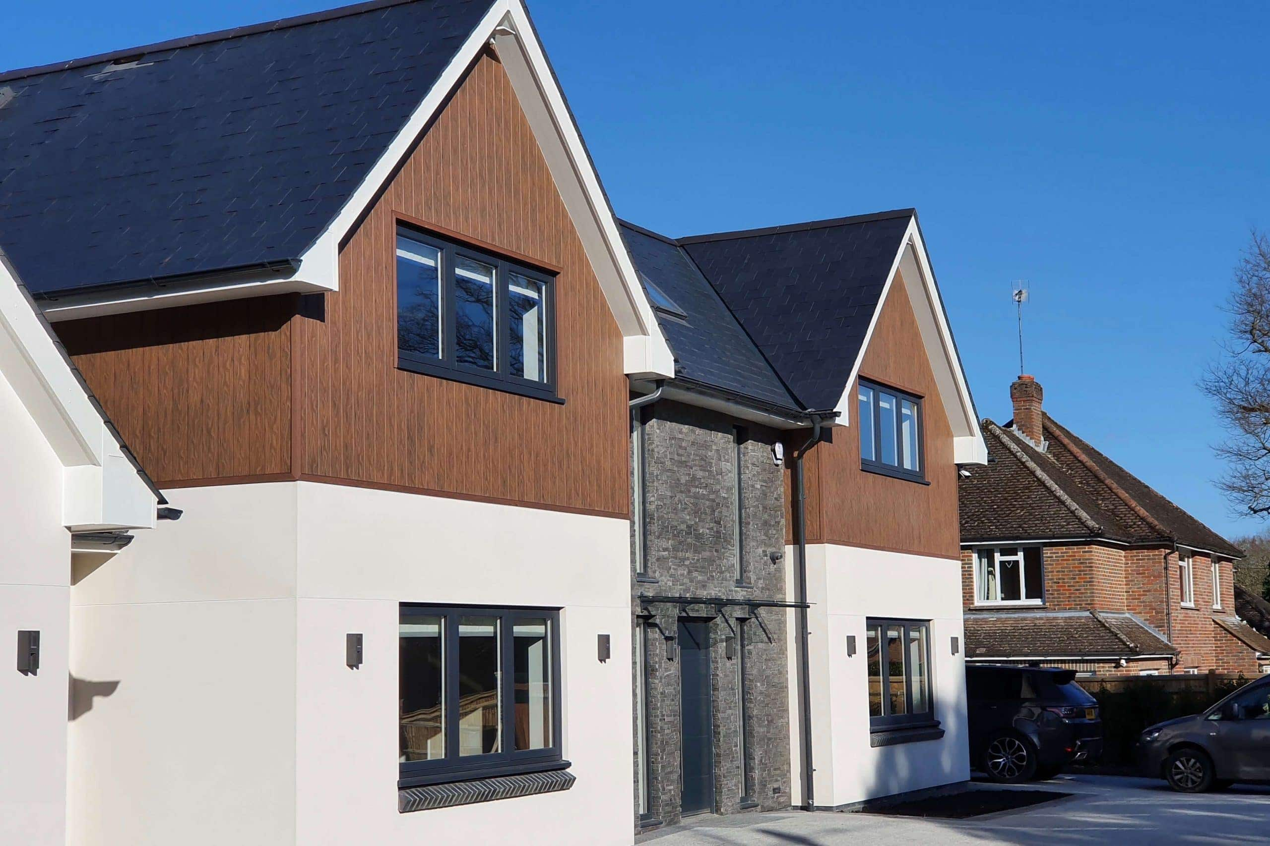 Exterior of Scandia Hus new build that Sub Cool FM undertook MVHR and air con full project for - timber frame house