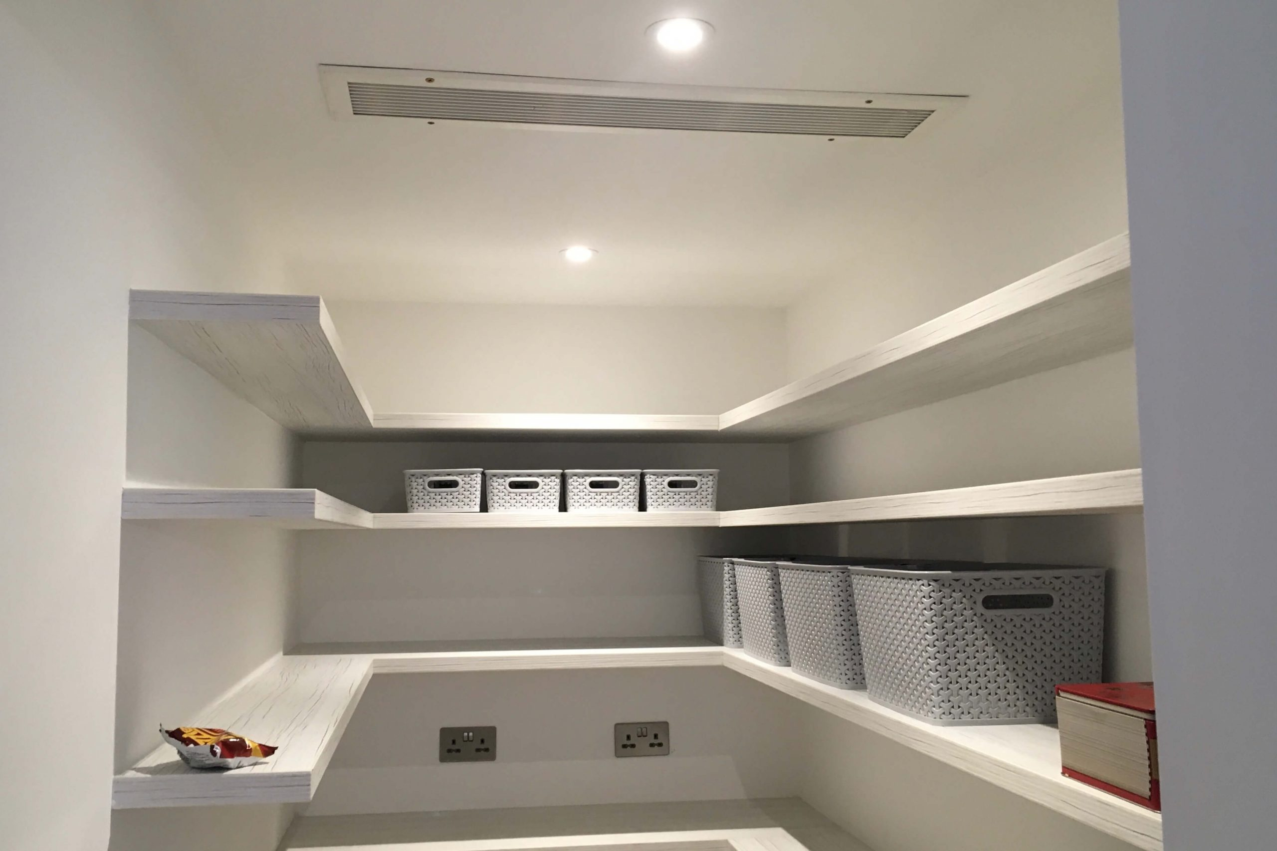 Scandia Hus with Mitsubishi air con and a full MVHR system by SubCool FM - inside the hidden chill room / larder