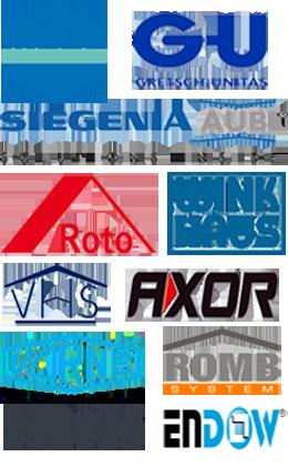 "Maco, GU ""Gretch-Unitas"", Siegenia aubi, Roto, WinkHaus, VHS, Axor, Vorne, Romb, Endow, Schüco (Schuco)"