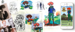 Sketches and designs of Tasssie Mapsalot, the lead character in the Alston Explorer app