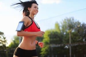 Happy running girl