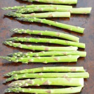 Fresh asparagus on an old sheet pan.