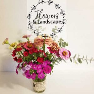Flowers & Landscape, bouquet of zinnias and eucalyptus, Southern Gardening Gal