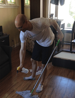 husband cleaning
