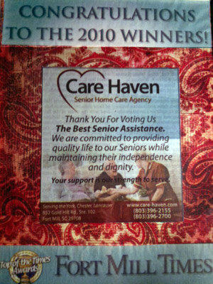 Care Haven - The Best in Senior Assistance Winner 2010 by Fort Mill Times