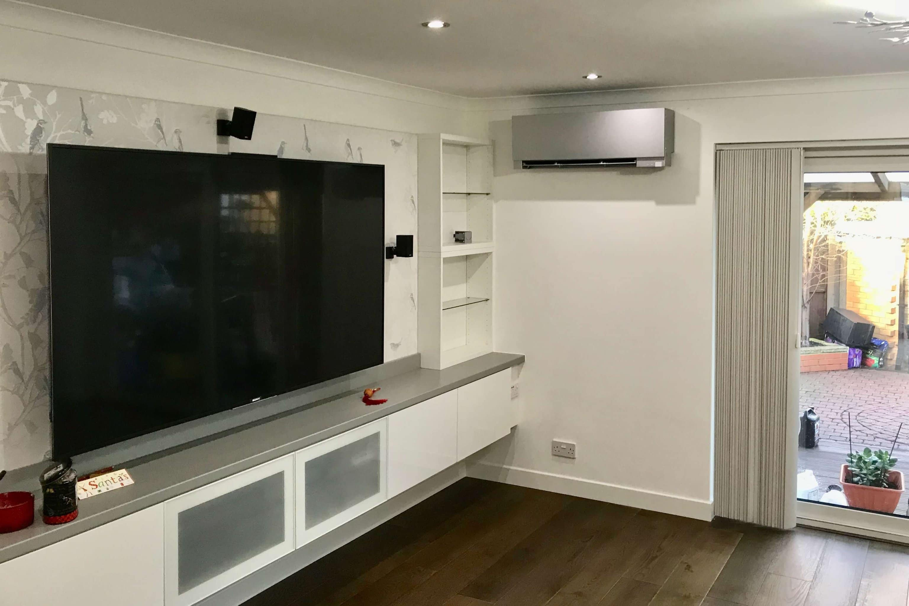 Air conditioning silver unit living space