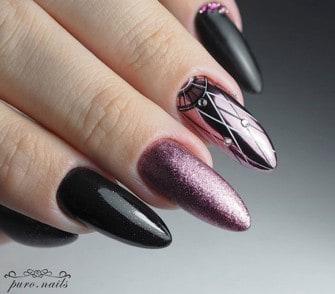 paznokcie hybrydowe w kolorze czarnym i przytłumionym różowym