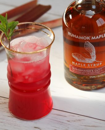 Maple syrup rhubarb cocktail by Runamok Maple