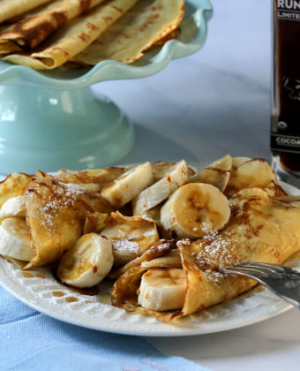 Banana Crepes with Cocoa Bean Infused Maple Syrup by Runamok Maple