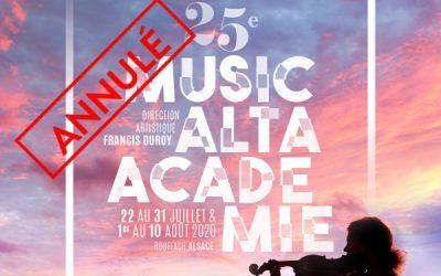Cancellation of Musicalta Academy 2020