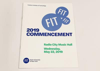 A saddle stitched commencement booklet printed for FIT