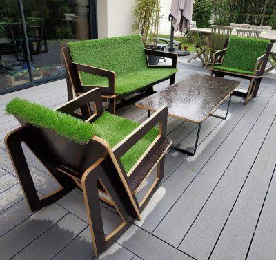 Salon de jardin sur mesure avec coussin vert pour extérieur