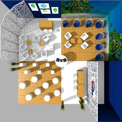 Wizualizacja 3d pokazująca zabudowę stoiska.