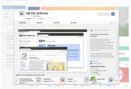KB SSL Enforcer page at the Chrome store