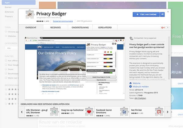 Privacy Badger page at the Chrome store