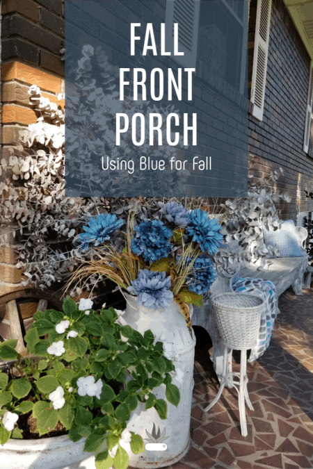 Using Blue for Fall Front Porch Decor