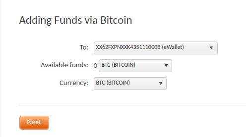 FXOpenにビットコインで入金