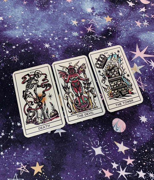 negative tarot cards - death, the devil and the tower