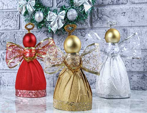 DIY Christmas Angels in red, gold, and silver.
