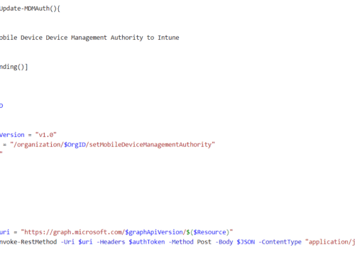 Set Intune as MDM Authority with PowerShell and Microsoft Graph API
