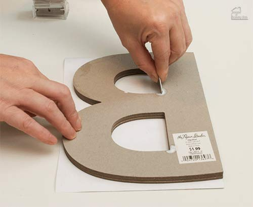 trimming paper around letter