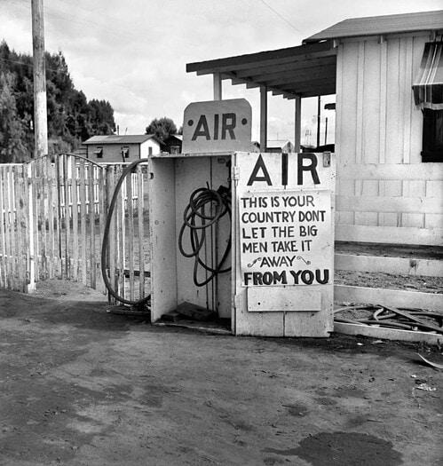 Gas Station, Kern County, California (Lettuce Strike) - Photo by Dorothea Lange. Printed by Seth Dickerman
