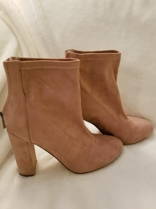 Midlife Style, Over 50 Fashion, Blush Pink Booties