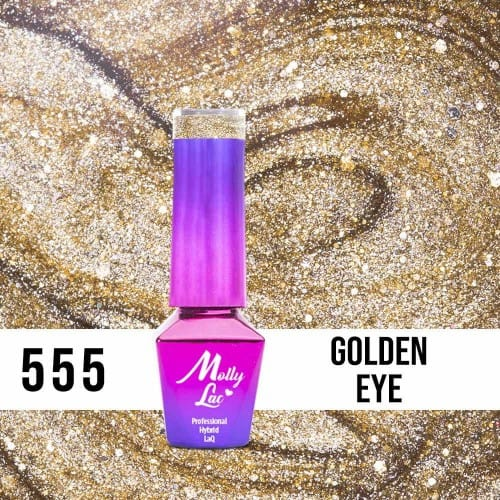 złoty lakier hybrydowy do cat eye