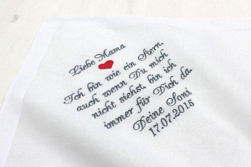 Besticktes Taschentuch zur Hochzeit für die Brautmutter oder einen anderen lieben Menschen