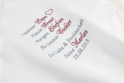 Taschentuch besticken lassen zur Hochzeit, Gastgeschenk Brautvater, Gastgeschenk Brautmutter,