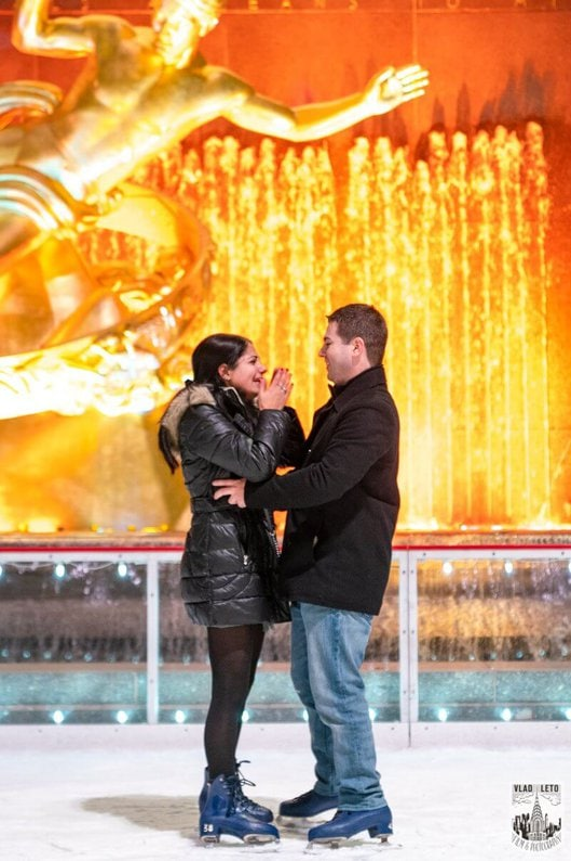 Photo 3 Ice Skating Marriage Proposal at Rockefeller Center | VladLeto
