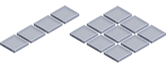 3′ x 3′ metal work platform - Shown above are a 3'x 12′ walkway configuration and a 9'x 9′ platform