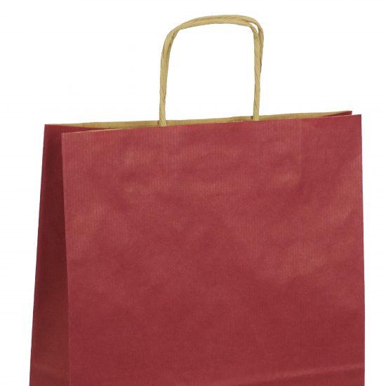 torba papierowa bordowa z nadrukiem 40cm x 14cm x 40cm