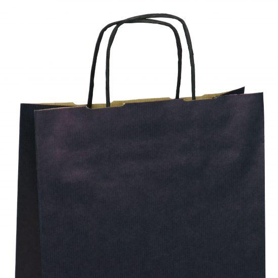 torba papierowa granatowa z nadrukiem 31cm x 12cm x 41cm