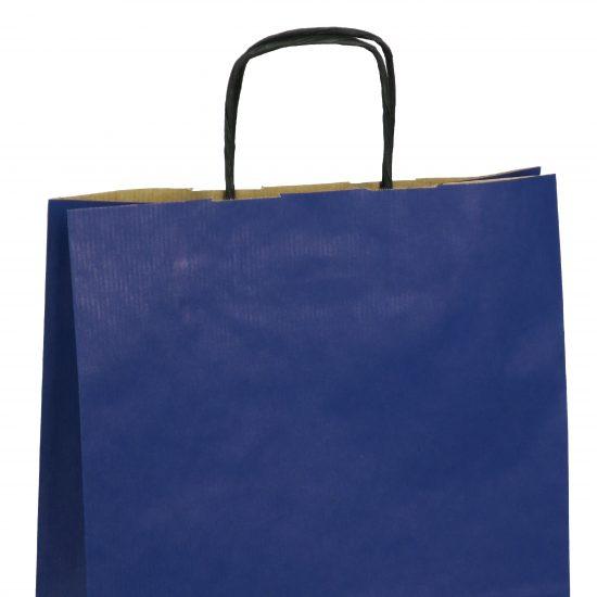 torba papierowa niebieska z nadrukiem 31cm x 12cm x 41cm
