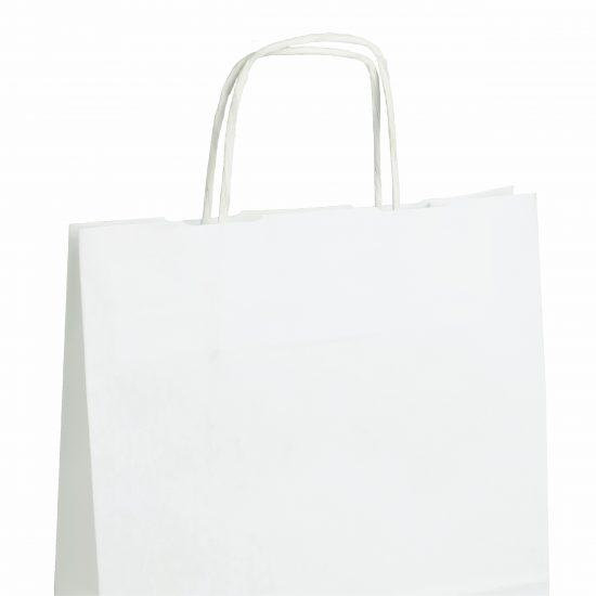 torba papierowa biala z nadrukiem 31cm x 12cm x 41cm