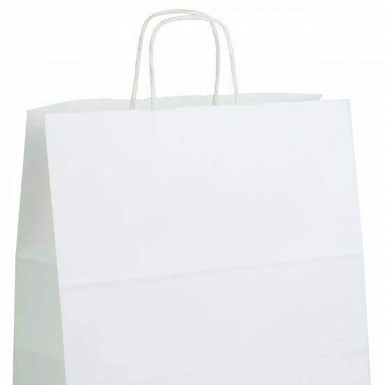 torba papierowa biala z nadrukiem 32cm x 16cm x 38cm