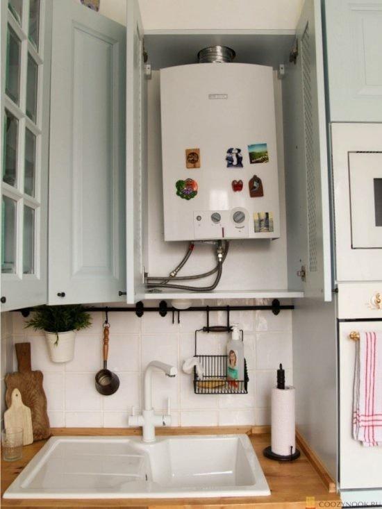 газовая колонка, кухня, в скандинавском стиле, фото, пример